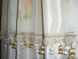 ONE drape polyester silk curtain floral design trim 48