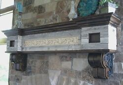 Rustic Antique Mantel Fireplace Barn Wood Vintage Knotty Alder Wrought Iron