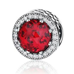 Authentic 925 Silver Radiant Hearts Charm Bead with Hot Red Crystal