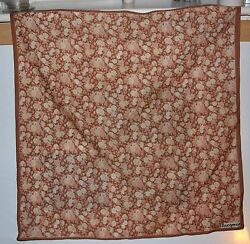 Vintage Jacqmar Brown and Cream Rose patterned scarf