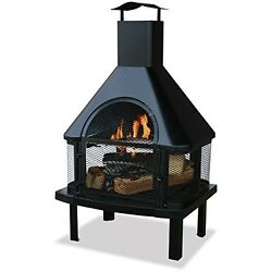Wood Burning Outdoor Fire Pit With Chimney  Fireplace Backyard Garden Cast iron