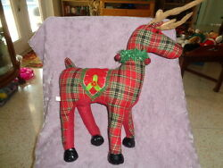 Reindeer Red Plaid Christmas Stuffed Plush Log Cabin Country Rustic Decor 16-21
