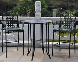 Wrought Iron Patio Furniture Bar Height 3 Pc Table Chairs Scrolls Outdoor Pool