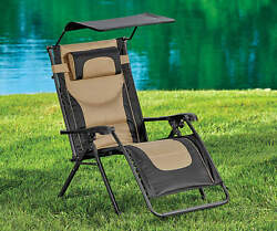 Black & Tan Oversized Padded Zero Gravity Chair with Canopy Outdoor Camping Home