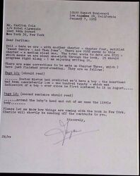 JAYNE MANSFIELD  IMPORTANT SIGNED LETTER RE CHANGES OF BOOK SHE IS WRITING 1959