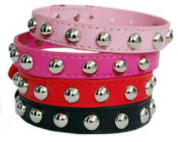 Small Studded Rivet Dog Leather Collar Puppy Cat Terrier Mini XS S M Adjustable $8.50