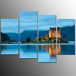 Framed Canvas Print Home Decor Castle in Lake Wall Art Canvas Oil Painting 4pcs $82.00