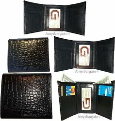 Lot of 5 Italian Style Crocodile Printed Leather Man's Black Trifold wallet BNWT