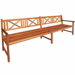 Brown Acacia Hardwood Garden Bench Seat Outdoor Seating Furniture with Backrest