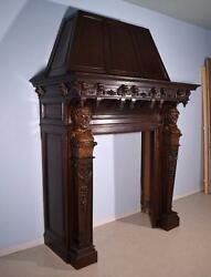 Massive Antique French Fireplace SurroundMantle in Walnut w Baccus Woodcarvings