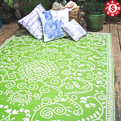 INDOOR OUTDOOR PATIO MAT Large Area Rug RV Camp Carpet Pool Deck Rugs 5X8 GREEN