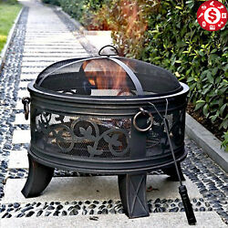 OUTDOOR FIREPLACE Wood Burning Heater Backyard Patio Fire Pit Steel Bowl Antique