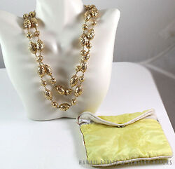 RARE MING'S HAWAII 2PC 14K YELLOW GOLD OVAL AND BALL NECKLACE W  RECEIPT
