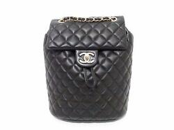 Authentic CHANEL Classic Rucksack Backpack Lambskin Leather Black