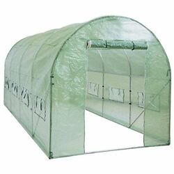 Walk In Plastic Tunnel Heavy Duty Greenhouse Cover Kit Plant House 15' x 7' x 7'