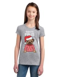 Santa Paws Pug Ugly Christmas Sweater Dog Girls#x27; Fitted Kids T Shirt Gift $14.99