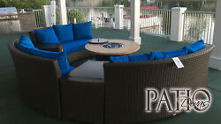 Bermuda 6-Piece All-Weather Wicker Circular Sofa Outdoor Patio Furniture Set