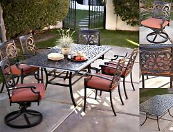 Patio Table And Chairs Cushion Outdoor Furniture 7Pc Dining Rocker Arm Swivel