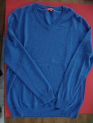 JACK THREADS 100% CASHMERE SWEATER V-NECK BLUE LARGE ITALY NEW