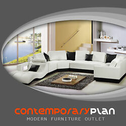 Tampa Contemporary Leather Sectional Sofa Set Curved Modern Design White Black $3299.00
