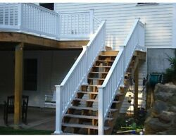 Stair Railing Kit Rail Iron Hand Handrail Weatherables Vanderbilt Vinyl White