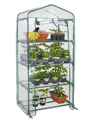 4 Tier Mini Green House Gardening Kit Patio Yard Small Spaces Covered Hothouse