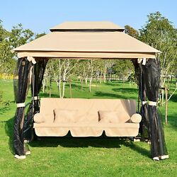 Outdoor Gazebo Daybed Swing 3 Person Patio Garden Canopy Backyard Furniture