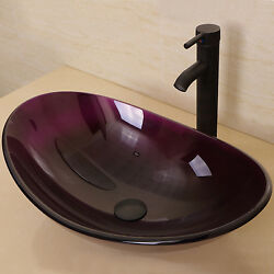Oval Bathroom Tempered Glass Vessel Sink w Oil Rubbed Bronze Faucet $98.99