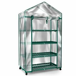 4 Tier Mini Walk-in Greenhouse Compact Replacement Cover Plants Seeds Outdoor