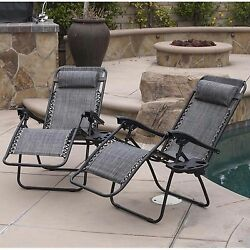 Chaise Lounge Zero Gravity Chair Recliner Outdoor Patio Folding Cushion Set Of 2