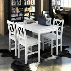 vidaXL Kitchen Dining Set Wooden Furniture Seat Table and Chairs White Brown $246.99