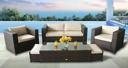 Patio Rattan Sectional Furniture 6pcs Sofa Couch Set with FREE outdoor cover NEW