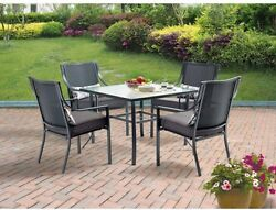 Square 5-Piece Patio Dining Set Outdoor Glasstop Table Grey With Leaves Seats 4