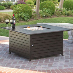 Extruded Aluminum Gas Outdoor Fire Pit Table With Cover Brown wBronze Finish