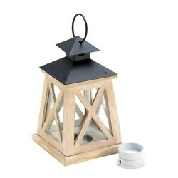 Colonial Heights Wood Lantern classic country charm. White  trim for Tee Light