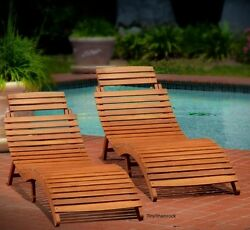 2 Pack Outdoor Patio Furniture Wood Chaise Lounge Folding Portable Chair Garden