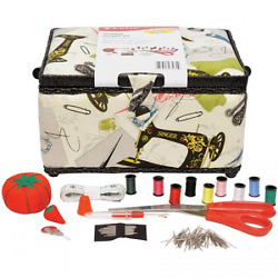 Vintage Sewing Basket Stylish Portable Kit Supplies w Removable Plastic Tray
