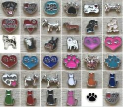 Floating Charm Dog Dogs Cats Pets Bone Heart fit Origami Glass Memory Locket $2.00