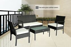Patio Cheap Outdoor Chairs Patio Furniture Small Sofa Set Grey Cushioned NEW