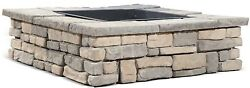 Fire Pit Square Kit Stone Back Yard Deck Patio Outdoor Wood Burning Garden