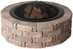 Fire Pit Kit 46 In. X 14 In. Round Concrete Wood Burning Back Yard Deck Outdoor