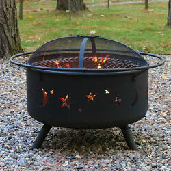 Wood Burning Fire Pit Outdoor Fireplace Portable Campfire Round Firepit Grill