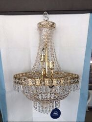 chandelier Swarovski Spectra Crystal 15quot; dia x 19quot;tall 8 lights gold color $950.00