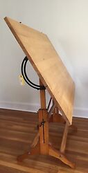 ANTIQUE CAST IRON and WOOD DRAFTING TABLE VINTAGE INDUSTRIAL FREDERICK POST CO. $950.00