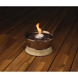 Small Tabletop Fire Pit Bronze Reusable Roundwick Burner System Outdoor Decor