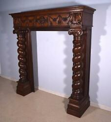 6' Massive Antique French Renaissance Oak Fireplace SurroundMantel with Angel
