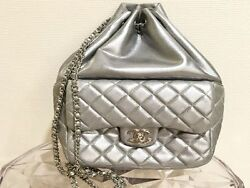 CHANEL Lambskin Backpack Rucksack CC Chain Shoulder Bag Silver Never Used Rare