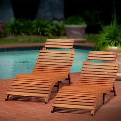 2 Outdoor Pool Sunbathing Patio Folding Beach Chaise Lounge Chairs Cottage Style