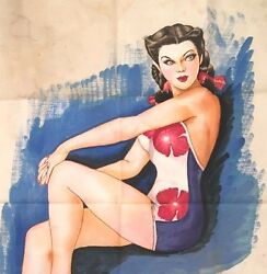 Antique 1940s WWII Soldier Risque American Pin Up Japanese Signed Silk Painting