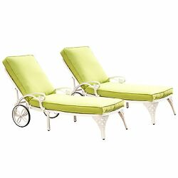 Home Styles Biscayne Chaise Lounge Chair WhiteGreen Apple